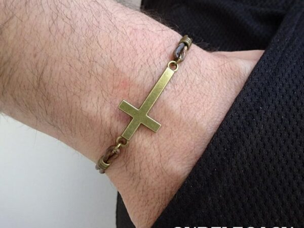 Mens Cross leather Bracelet