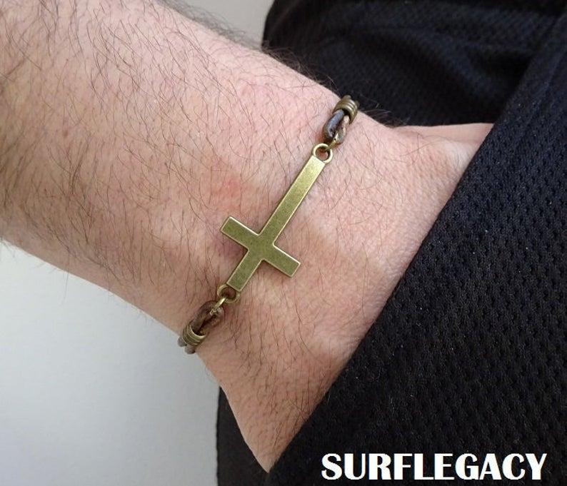 Mens Cross leather Bracelet
