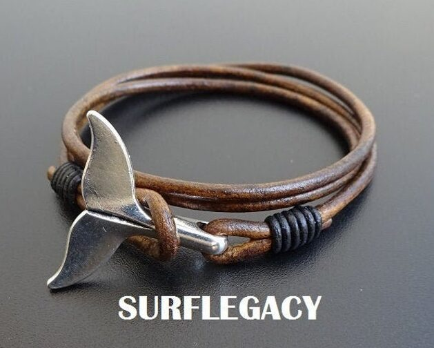 Whale Tail Silver Charm Leather Bracelet