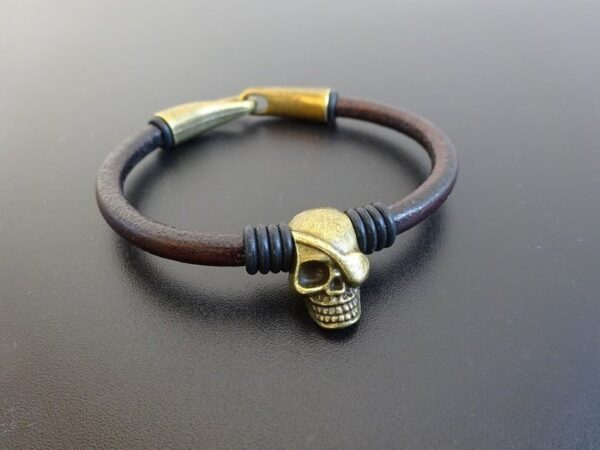 Pirate Skull Leather Bracelet