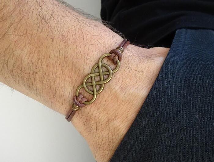 Double Infinity Leather Bracelet