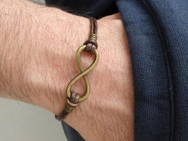 Infinity Leather Bracelet on leather