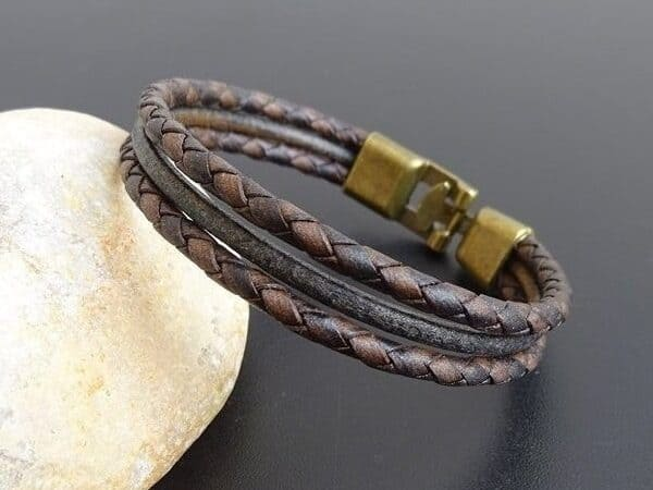 Leather Bracelet for men bronze clasp