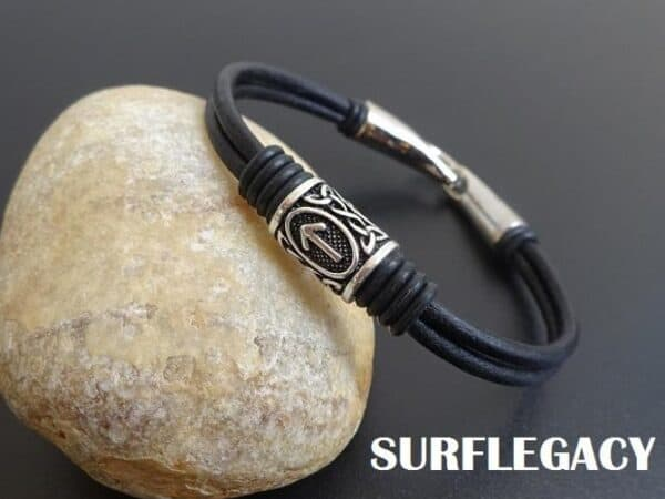 viking leather bracelet with silver rune