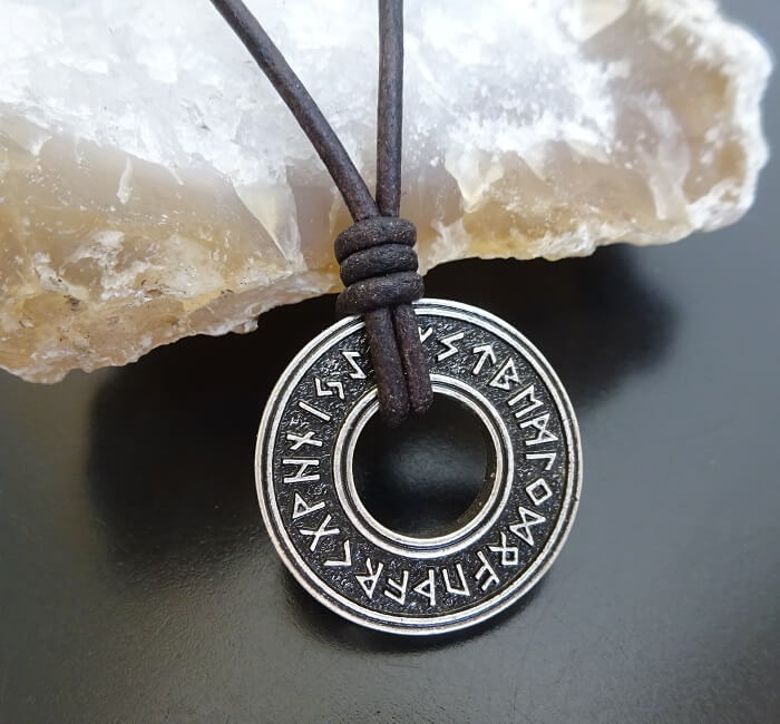Viking Necklace with runes on leather