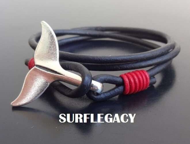 whale tail leather bracelet red accent