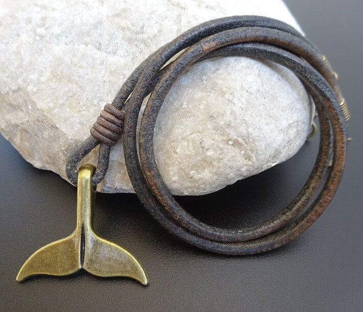 whale tail leather necklace