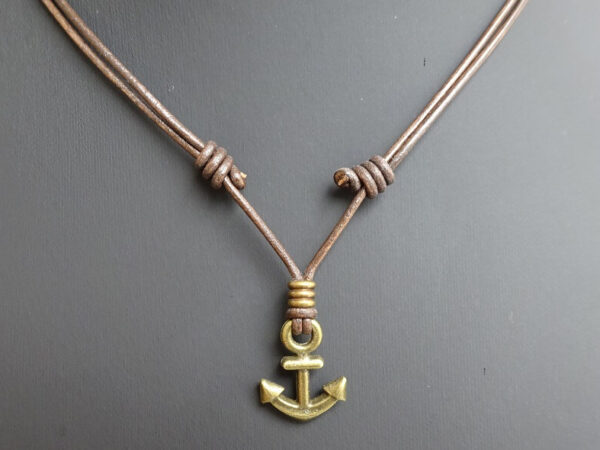 bronze anchor necklace on leather slip knot