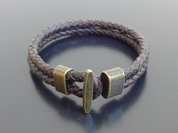 braided leather bracelet bronze clasp