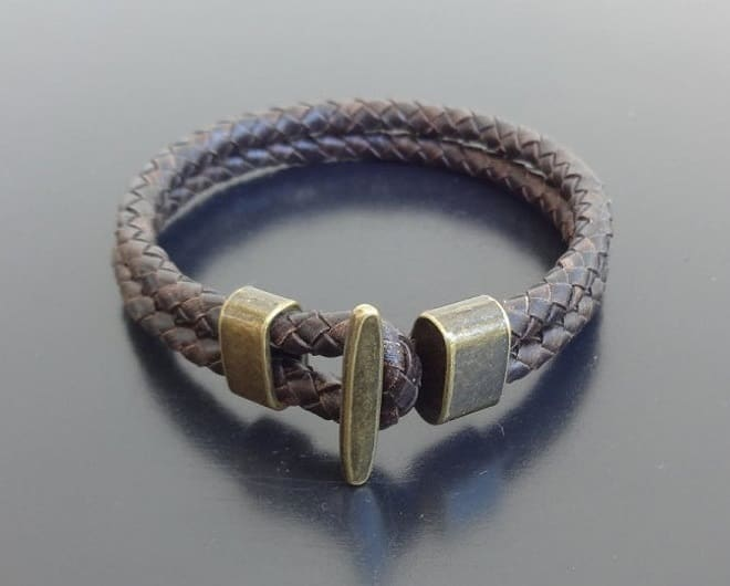 braided leather bracelet bronze clasp
