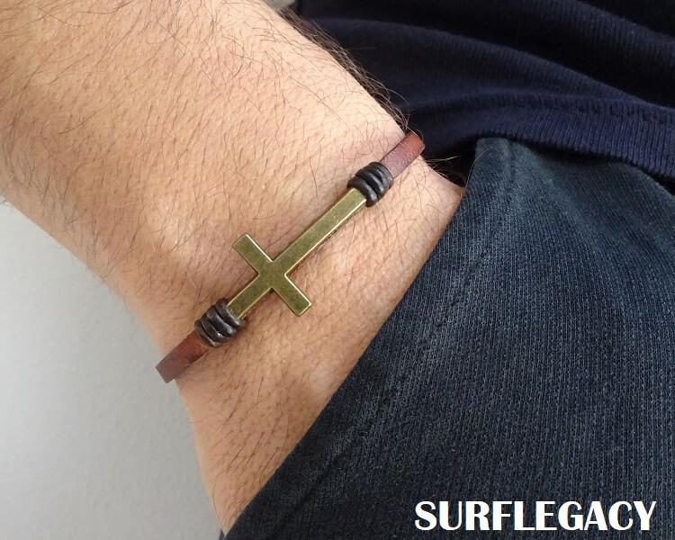 Bronze cross leather bracelet