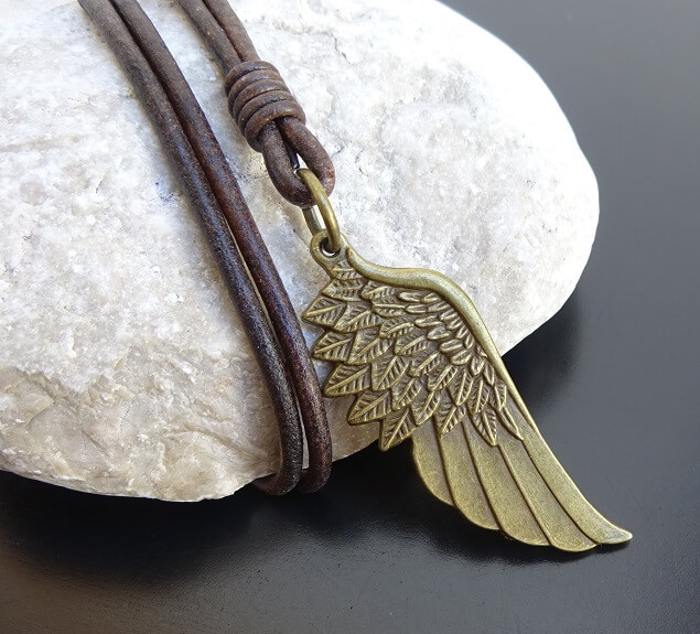 bronze angel wing leather necklace