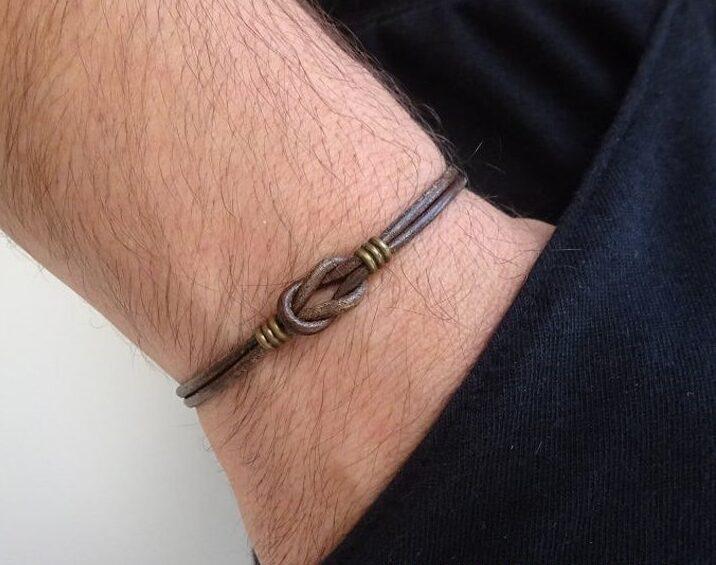 Infinity Leather Bracelet adjustable