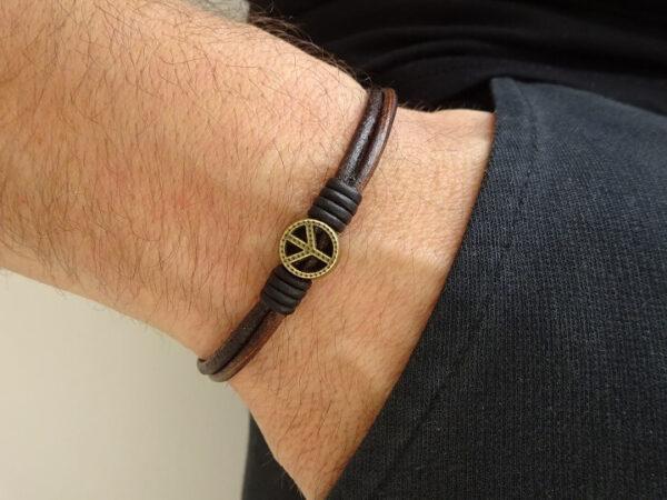 peace symbol leather bracelet