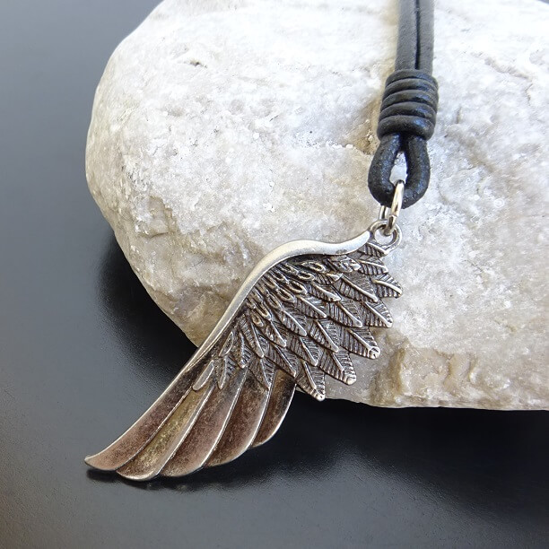 silver angel wing leather necklace