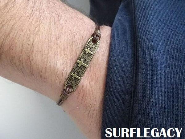 cross leather bracelet adjustable