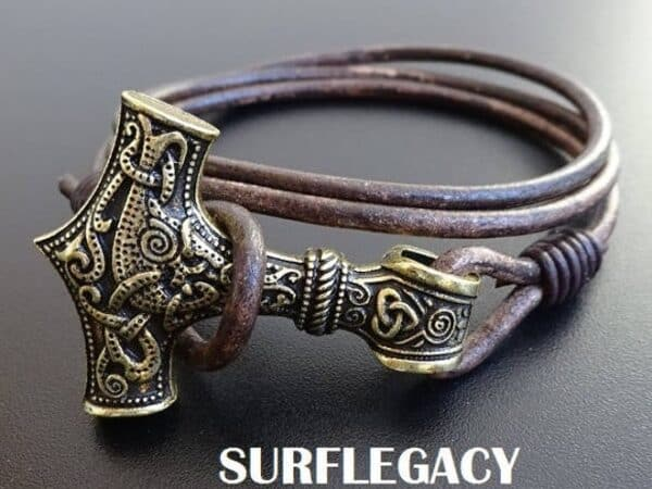 mjolnir norse leather bracelet