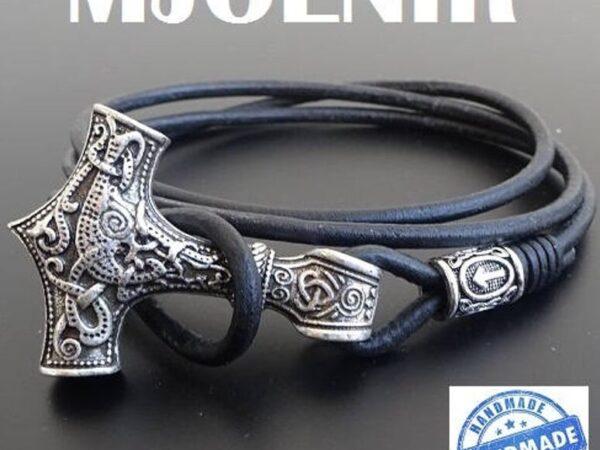 Mjolnir Leather Bracelet with rune
