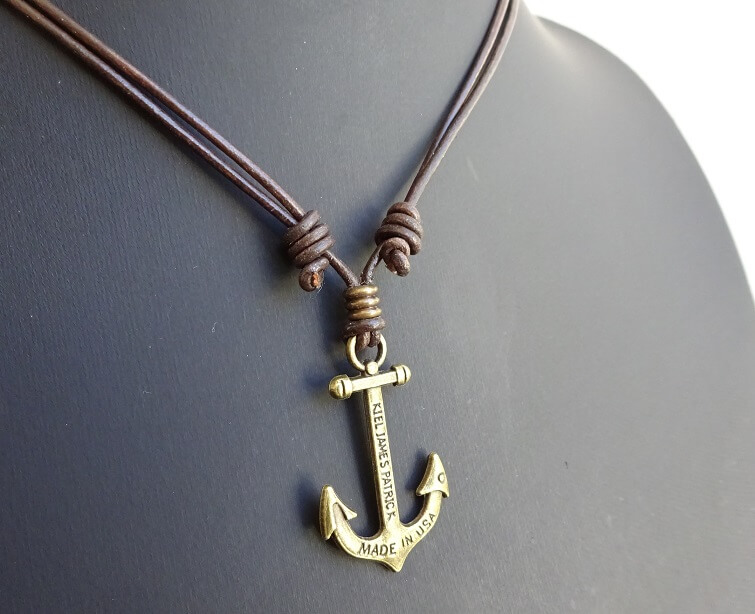 anchor necklace leather slip knot