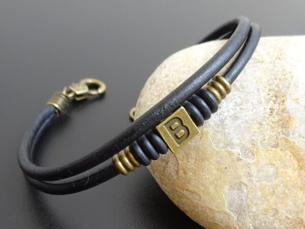 initial leather bracelet