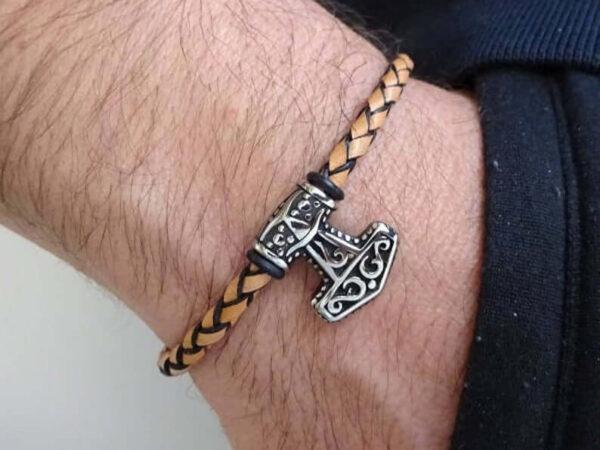 Mjolnir Viking bracelet on leather