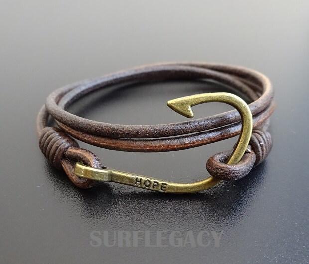 fish hook leather bracelet Hope