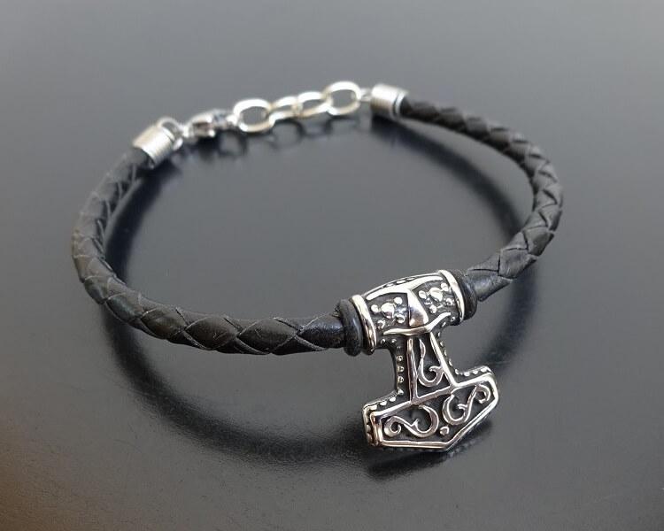 viking bracelet on leather
