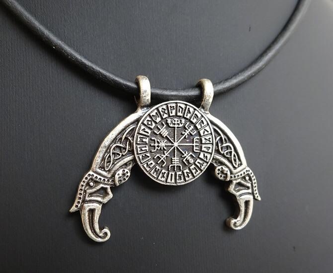 viking necklace vegvisir compass runes