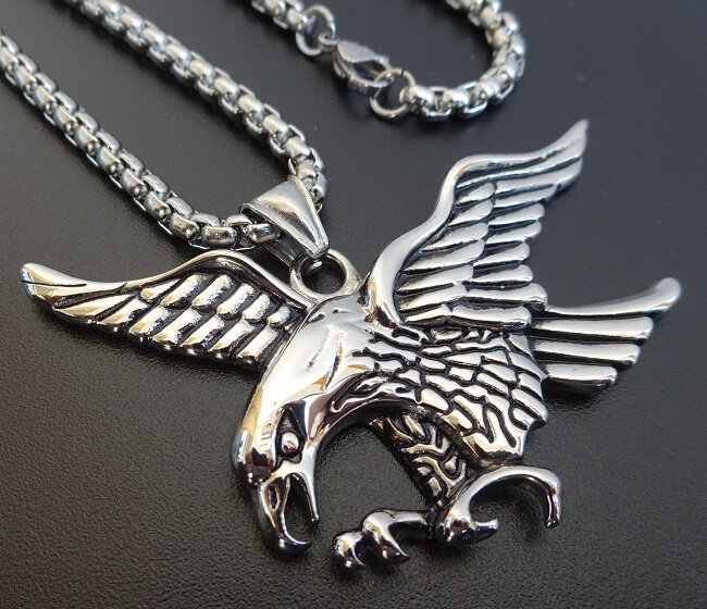 stainless steel eagle pendant on chain