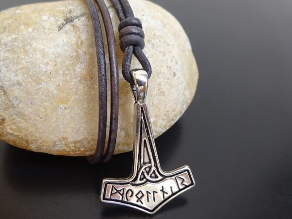mjolnir necklace with runes on leather