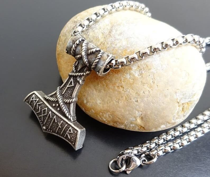 mjolnir necklace on stainless steel chain