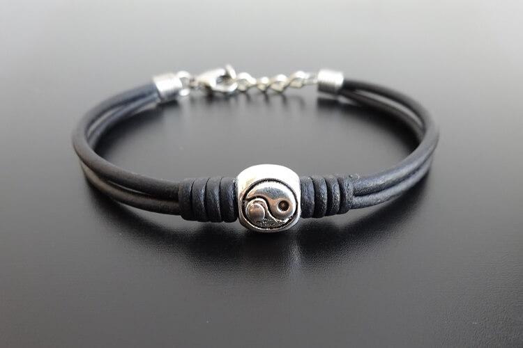 yin yang leather bracelet adjustable