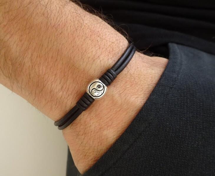 yin yang leather bracelet