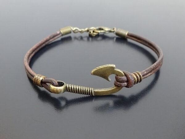 fish hook leather bracelet