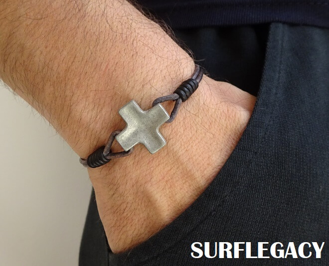 cross leather bracelet