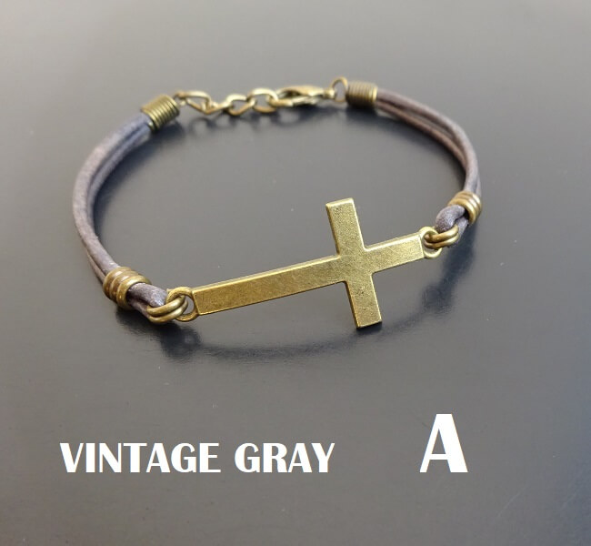 cross bracelet on leather adjustable
